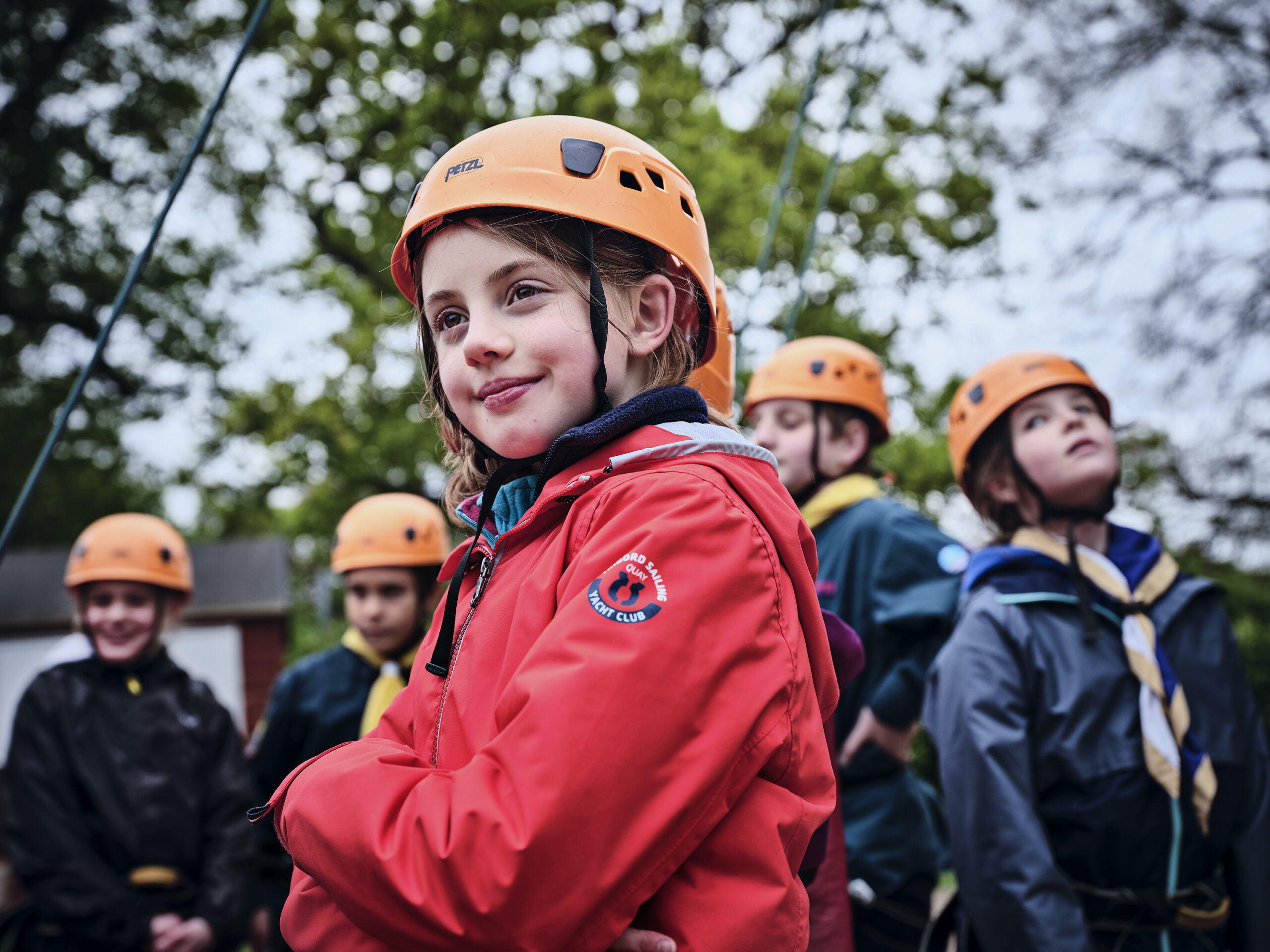 A group of Scouts wearing climbing helmets an activity offered by Whitley Bay Scouts